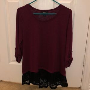 Burgundy lace ruffle top